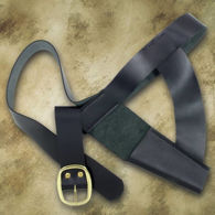 Replica black leather belt holster for Brown Bess and similar muskets with brass buckle and sewn-in bayonet frog.