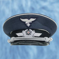 German WWII Reproduction Luftwaffe Officer's Cap with patent leather visor and leather sweat band