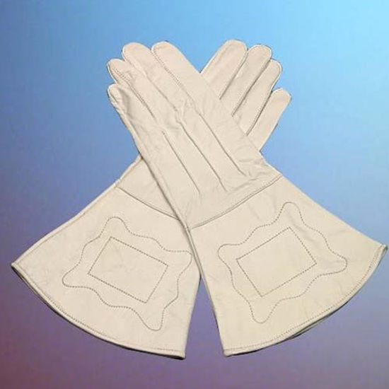 Civil War Union Enlisted Men's White Leather Gauntlets
