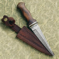 Damascus Dagger with Hardwood Grip and Leather Scabbard