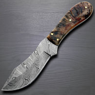 Rams Horn Big Game Damascus Skinner  Knife