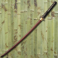 Katana with Damascus steel blade with a coppery red color