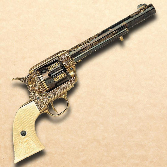 1873 Cavalry Single Action Revolver - Gold Engraved Finish