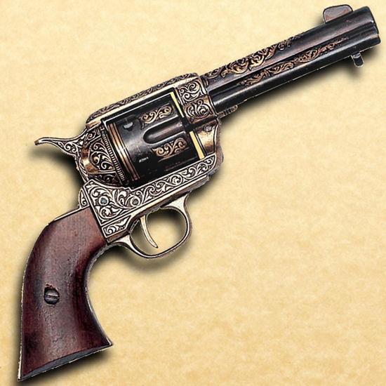 Engraved Brass .45 Army Revolver Wooden Grip