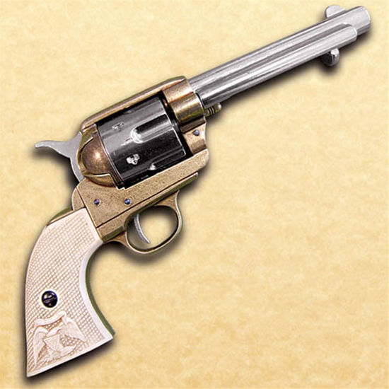 "Fast Draw M1873 Old West Revolver with a 5.5"" barrel and a realistic trigger, cylinder, and hammer action that works"