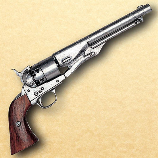 Model 1860 Army Issue Civil War Revolver - Pewter Finish Non Firing Replica