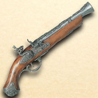 18th Century British Flintlock Blunderbuss Pistol in Pewter finish