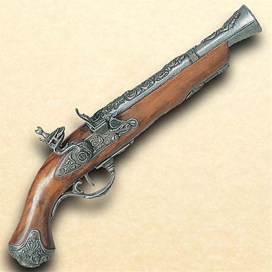 18th Century British Flintlock Blunderbuss Pistol in Pewter finish