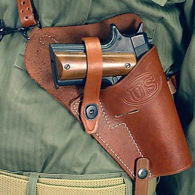 Brown Leather US M7 Shoulder Holster with black metal hardware