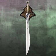 Hobbit Orcrist Sword of Thorin Oakenshield on included wood wall display with silk-screened graphic