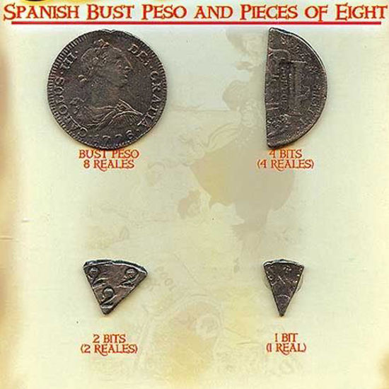 Picture of Spanish Bust Peso & Pieces of 8 Coins
