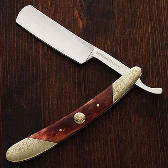 Picture of Old West Marbled Red Bone Straight Razor