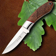 Elk Ridge Hunter Knife Brown Wood Scales