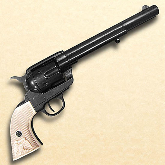 non-firing replica 1873 .45 Caliber Cavalry Style revolver has simulated ivory grips, the ability to cock the gun and spin the chamber