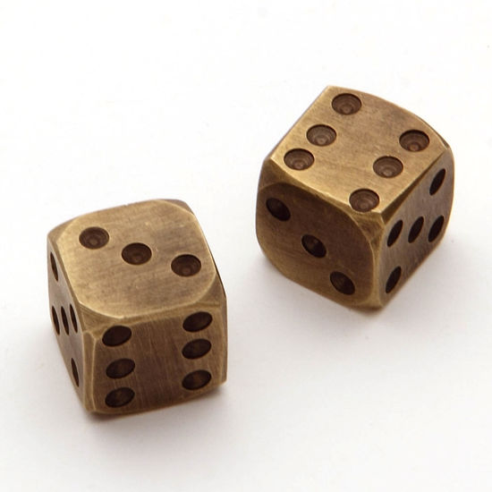 1800s Pair of Brass Dice