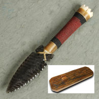 Beaded Bone Obsidian Blade Knife