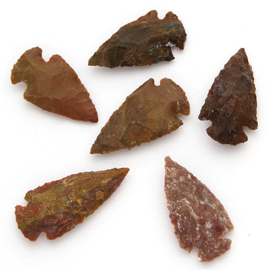 Set of 6 Agate Arrowheads Medium