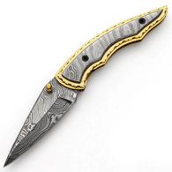 Full Damascus Folding Knife