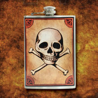 Jolly Roger Stainless Steel Flask with Attached Cap