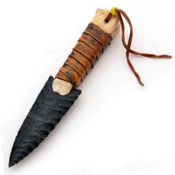 Deer Leg Bone Obsidian Knife