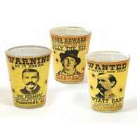 Set of 3 Old West Wanted Poster Shot Glasses