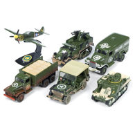 Picture of Set of 6  Battle Scarred US WWII Die Cast Vehicles