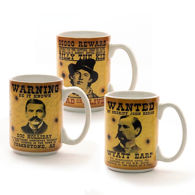 Set of 3 Old West Wanted Poster Mugs