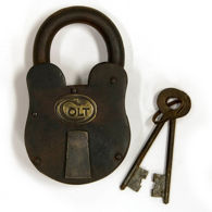 Large Iron Colt Padlock with keys