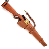 Replica M1 Carbine Leather Scabbard shown with rifle