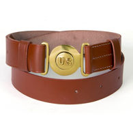 Brown Leather Officer's Style Pistol Belt with Brass US Buckle