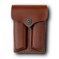 Brown Leather Double Stack Style Dual Mag Pouch
