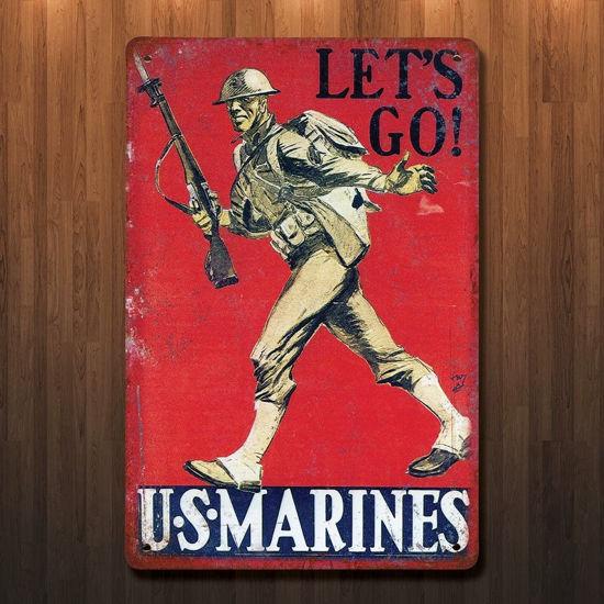 Vintage Style WWI US Marines Let's Go Metal Sign