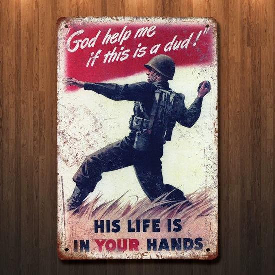 Vintage Style WWII Grenade Metal Sign