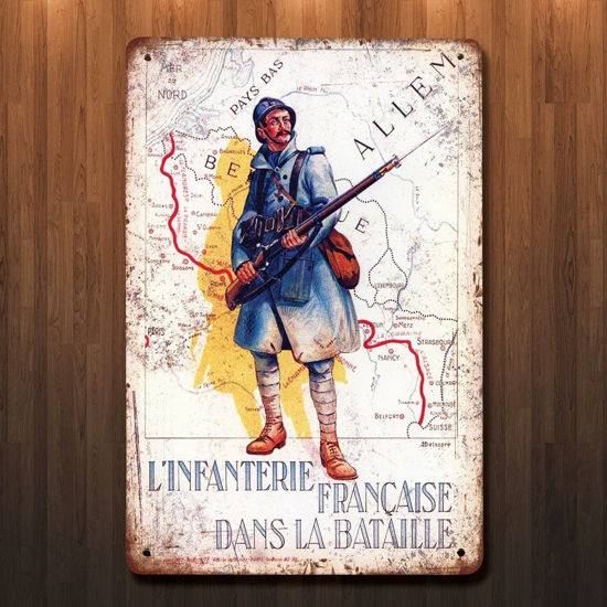 Vintage Style WWI French Battalion Metal Sign