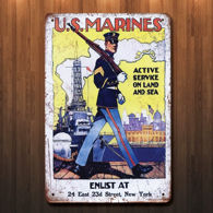 Vintage Style WWI US Marines Metal Sign