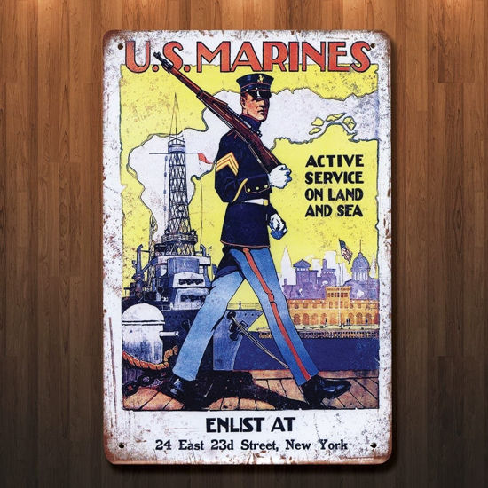 Vintage Style WWI US Marines Metal Sign