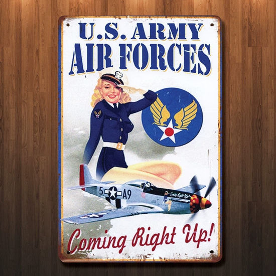 Vintage Style WWII Coming Right Up Metal Sign