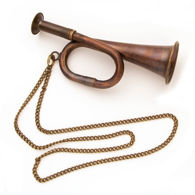 Miniature Working Brass Bugle with Chain