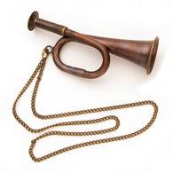 Miniature Working Brass Bugle with Chain
