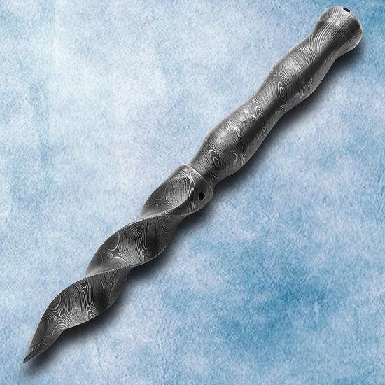 Twisted Tri Curve Damascus Dagger