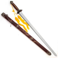 Tai Chi Sword with Stained Cherry Red Hardwood Grip and Scabbard