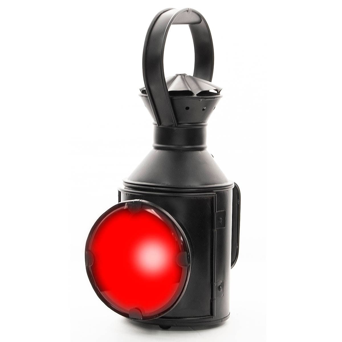 Iron Kerosene Railroad Lantern with Red Lens