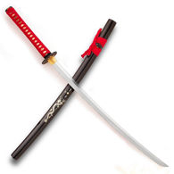 Red Dragon Katana and Black Lacquer Saya with Dragon inset in Abalone