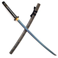Blue Leaf Katana with Black Lacquer & Gold Wood Saya