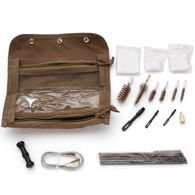 Portable Tactical Gun Care Kit with brass bore brushes, iron rods, patch pullers and cotton patches