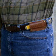 Horizontal Leather Belt Sheath for Pocket Knife