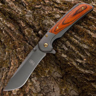 Buckshot Folder assisted opening knife with wood scales