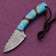 Damascus Skinner Knife with Faux Turquoise Scales