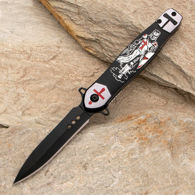 Crusades EDC folding knife with stiletto style blade