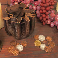 Leather Pouch with 8 Replica Viking Coins